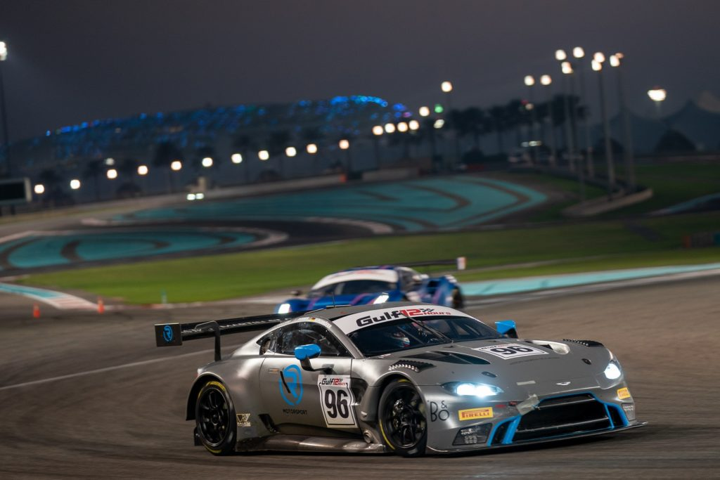 Aston Martin Vantage GT3 racing at night