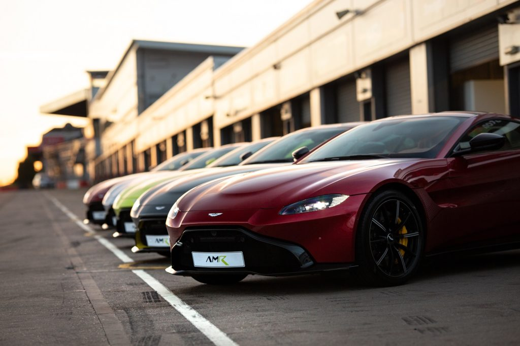 Parked AMR race-prepared GT4 Aston Martins