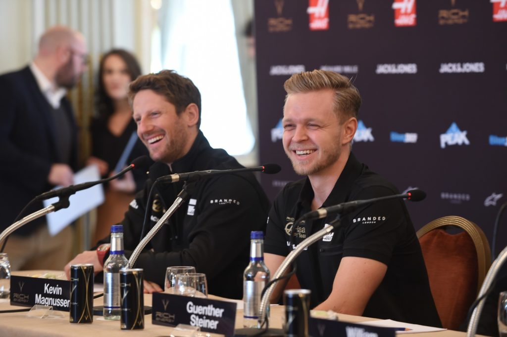 Hass drivers Romain Grosjean and Kevin Magnussen
