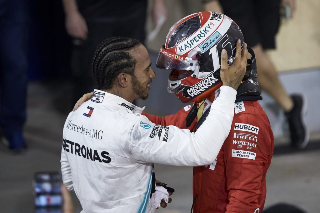 Lewis Hamilton commiserating with Charles Leclerc at the Bahrain Grand Prix