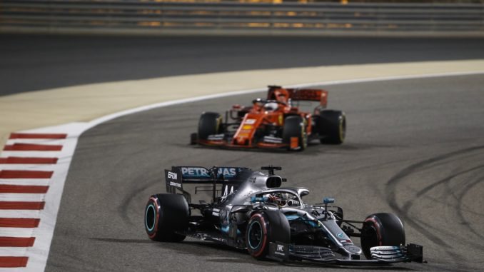 Lewis Hamilton takes the lead at the Bahrain Grand Prix