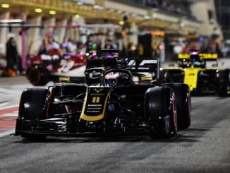 Romain Grosjean exiting the pits in Bahrain