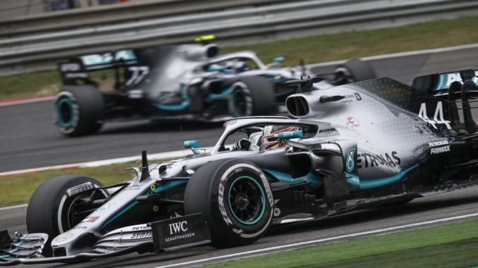Lewis Hamilton ahead of Valtteri Bottas at Chinese Grand Prix