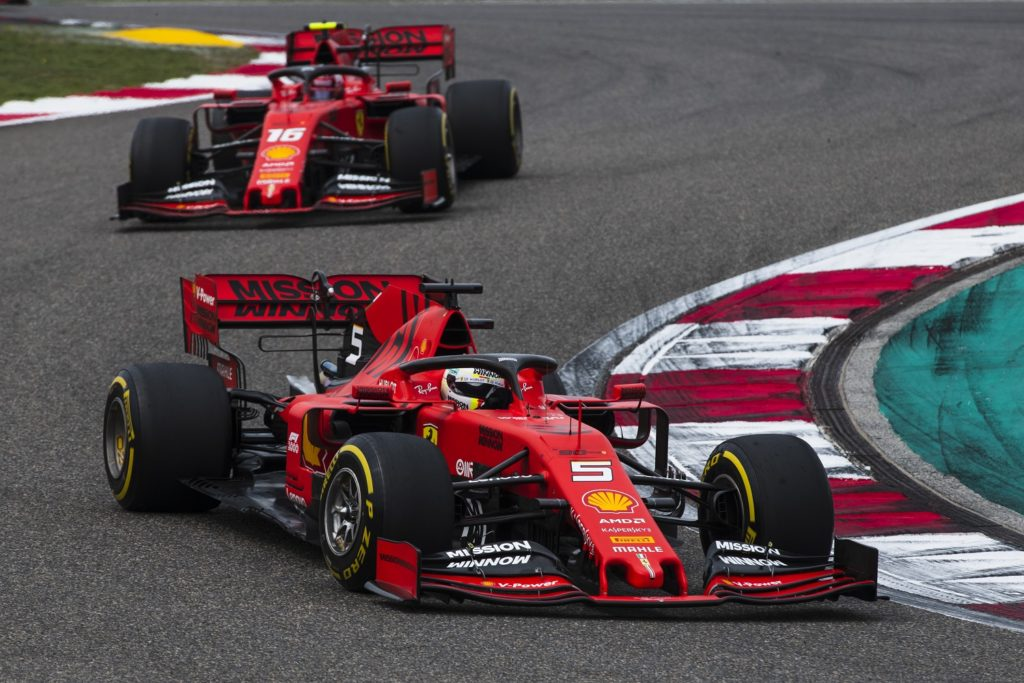 Vettel leading Leclerc in Chinese GP