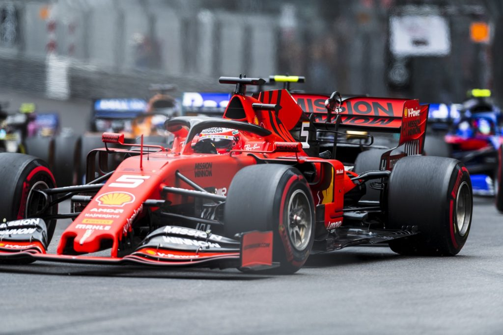 Sebastian Vettel fighting hard at the Monaco Grand Prix