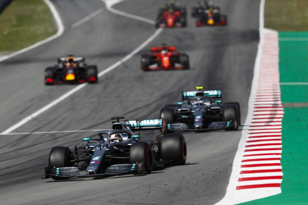 The two Mercedes leading the 2019 Spanish Grand Prix