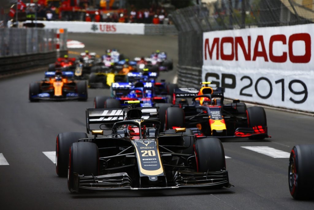 Kevin Magnussen at the start of the Monaco Grand Prix