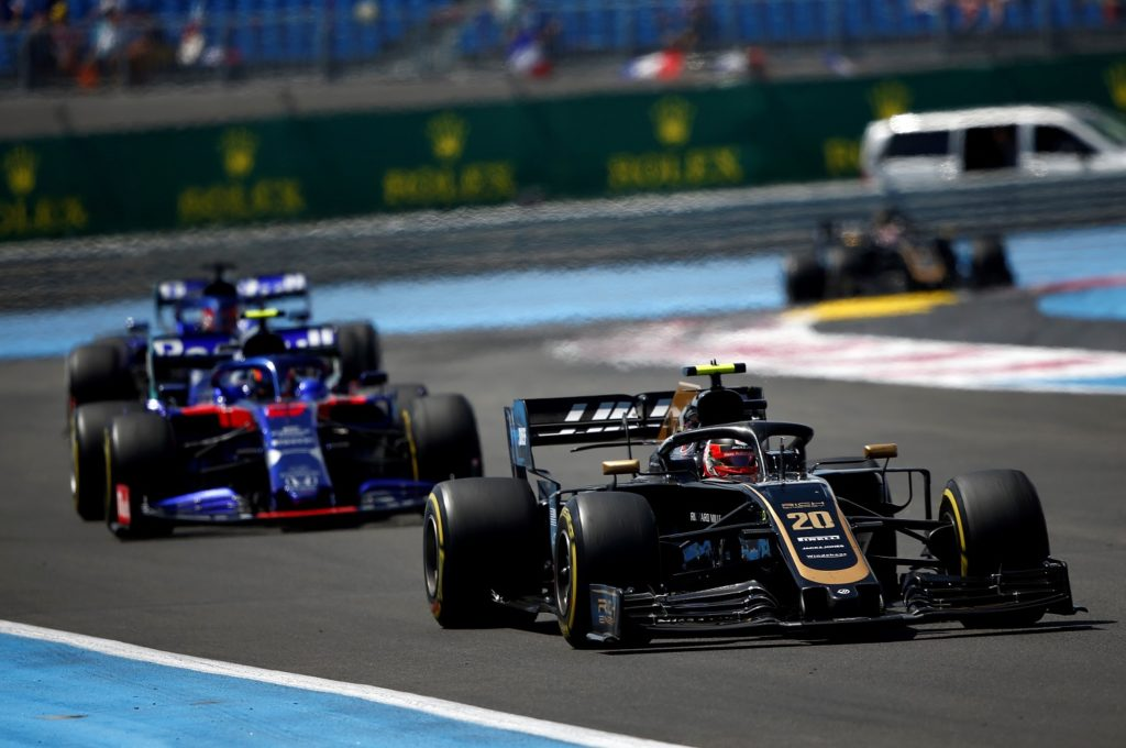 Kevin Magnussen racing hard at the French Grand Prix