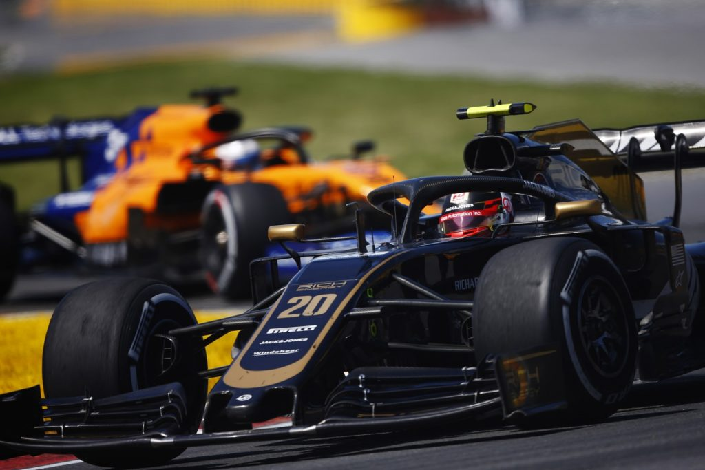 Kevin Magnussen racing at the Canadian Grand Prix