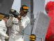 Lewis Hamilton on the podium at the French Grand Prix