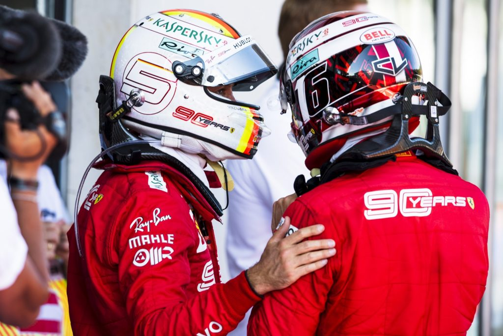 Sebastian Vettel and Charles Leclerc at the end of the Austrian Grand Prix