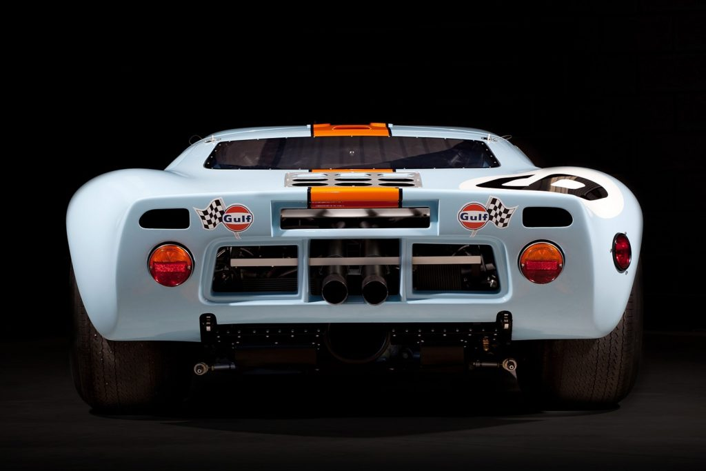 Rear view of the Gulf Ford GT40 P/1075