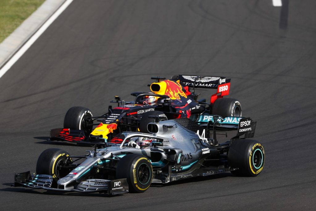 Lewis Hamilton getting past Max Verstappen at the Hungarian Grand Prix