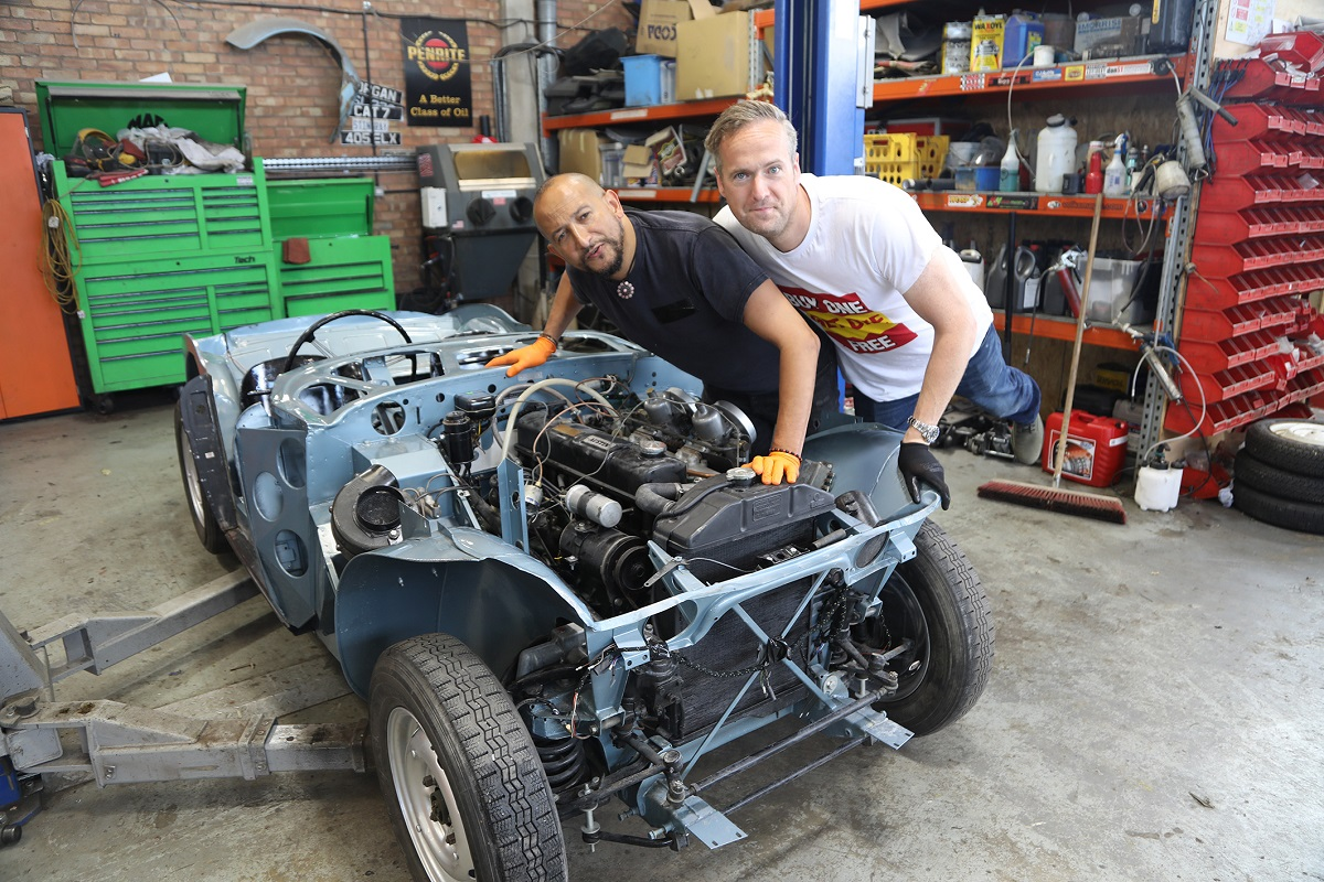 Tim and Fuzz with the Healey chassis in the Car S.O.S. workshop