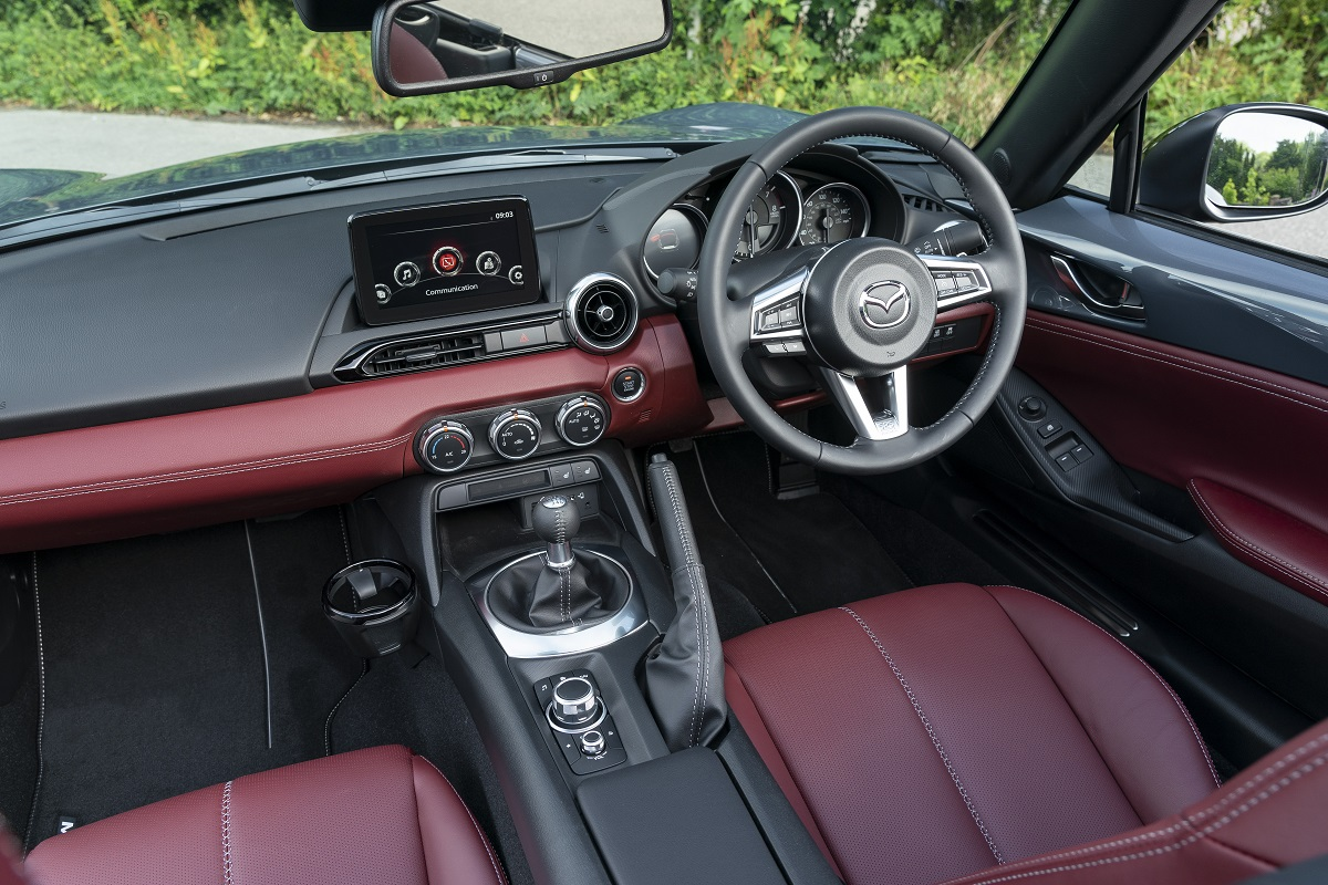 MX-5 interior and burgundy Nappa leather seats