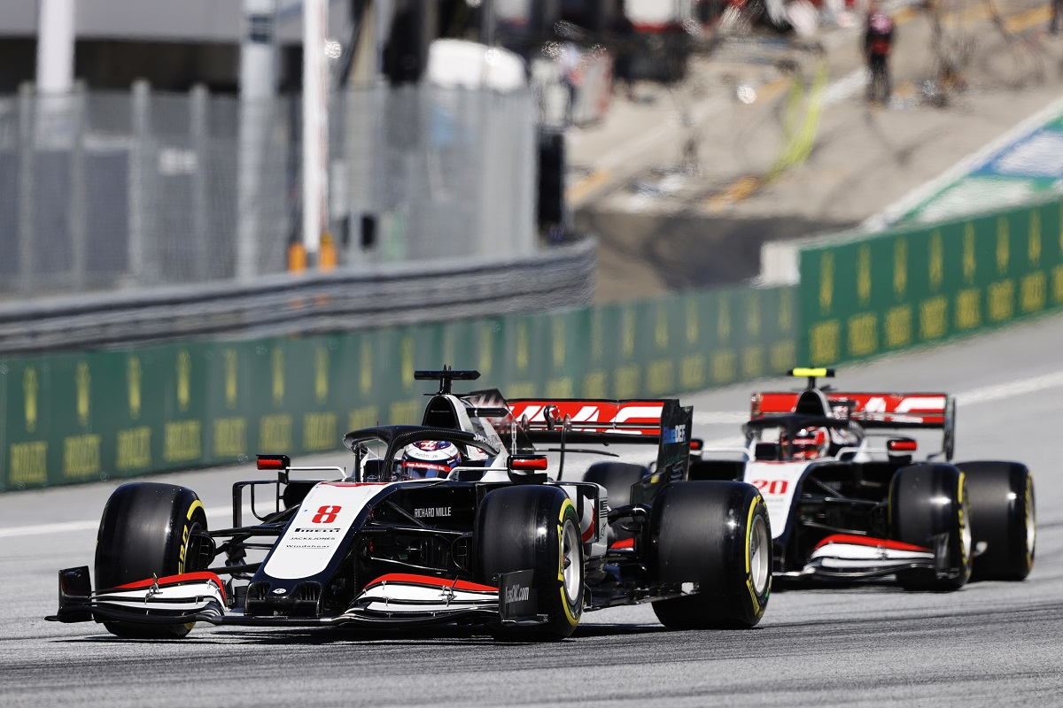 Romain Grosjean leading his Haas teammate