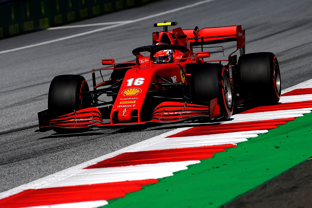 Charles Leclerc in his Ferrari at the 2020 Austrian Grand Prix