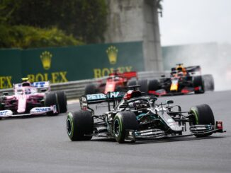 Lewis Hamilton leading the Hungarian Grand Prix
