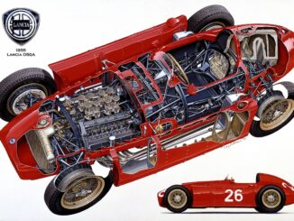 Art of Motoring Lancia cutaway by artist Tony Matthews