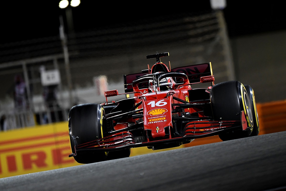 Charles Leclerc running fifth at the Bahrain Grand Prix